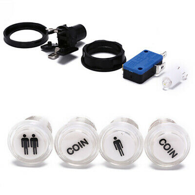 4x led start push button kit 1p 2p start button+coin button for arcade game VvV