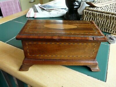 Antique / vintage inlaid wooden box  on four bracket feet