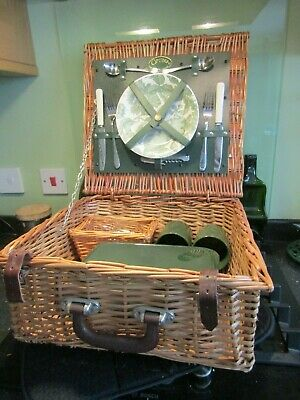 Pre-owned WICKER PICNIC BASKET by Optima For 2 - Plates/Corkscrew/Glasses Unused