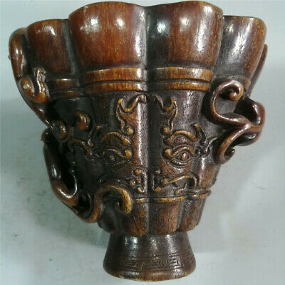 Collection Chinese Exquisite Ox horn carved beast pattern Ox horn cup wine cup