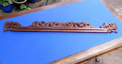 LOVELY FRET CARVED ANTIQUE MAHOGANY FRIEZE~GALLERY~PEDIMENT~OVERDOOR~39ins/99cms