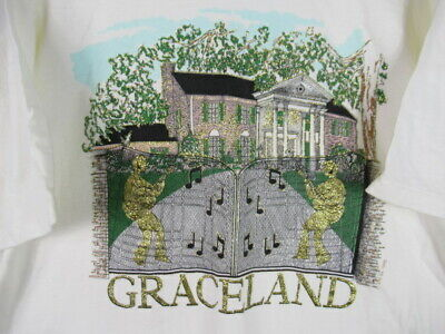 VINTAGE 90s Graceland T Shirt 1995 Elvis Presley Pop Rock Music Glitter MENS XL