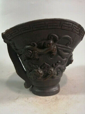 Collection Chinese Exquisite Ox horn Hand-carved chilong Ox horn cup wine cup