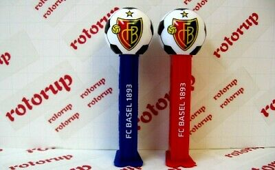 PEZ pair of FC Basel soccer club in Switzerland two PEZ dispensers on cards