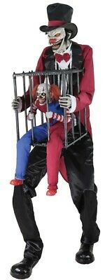 Rotten Ringmaster with Caged Clown Animated Prop Halloween Life Size Animatronic