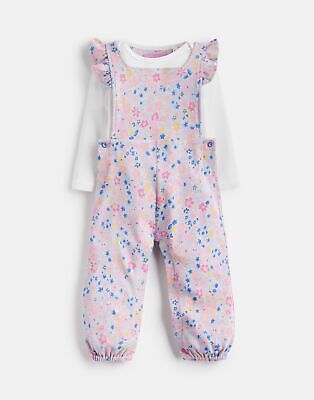 Joules Baby Eliza Jersey Dungaree Set in GREY MARL DITSY