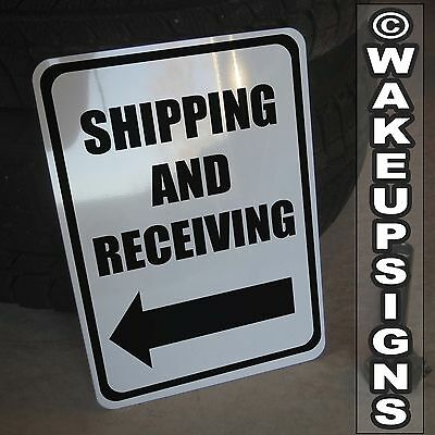 """SHIPPING AND RECEIVING SIGN ALUMINUM 10/"""" BY 14/"""" METAL LOADING DOCK FORKLIFT"""
