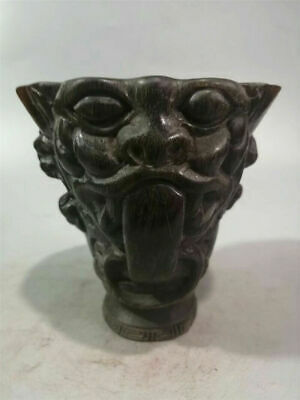 Collect China Exquisite Ox horn Hand-carved beast pattern Ox horn cup wine cup