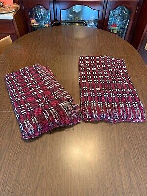 2 Magenta/Red White Black Check/Plaid Table Cloth Clothes Heavy 48 x 82 AS IS