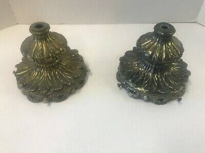 2 Vintage Heavy Knobby  Swag Lamp W/Heavy  Metal Top Project Part