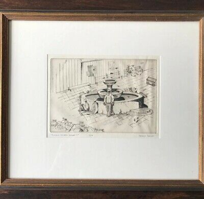 """STANLEY JOHNSON ETCHING.  """"Fountain - Olvera Street""""  Numbered 6/75 Signed"""