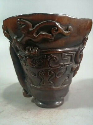 Collection Chinese Ox horn Hand-carved chilong pattern Ox horn cup wine cup