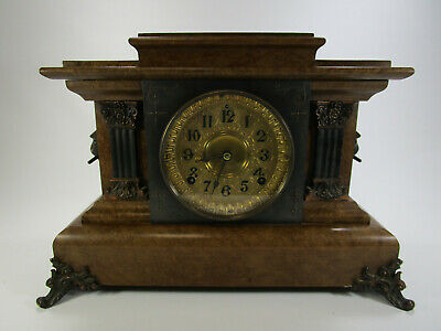 Antique Seth Thomas Adamantine Mantle Clock with Egyptian Lion's Head Accents