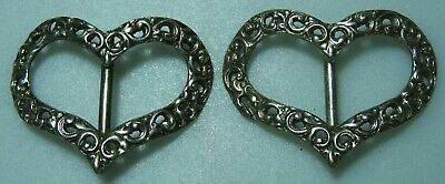 Silver hallmarked pair heart shaped buckles Chester 1897