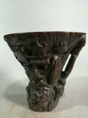 Collection Chinese Exquisite Ox horn Hand-carved landscape Ox horn cup wine cup
