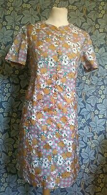 Vintage 1960s floral shift mini Dress original mod scooter Gogo button front