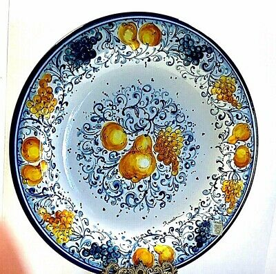 Ceramic Fruit & Pasta Serving Bowl 14.5 Inch & Wall Decor SIGNED  from ITALY