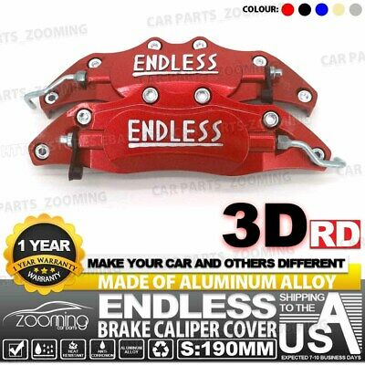 6x Red 3D Style Brake Caliper Cover Universal Car Disc L+M+S Front Rear Kit LW02