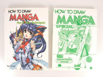 How to Draw MANGA Books Lot of 2 Special Colored Original Pen & Tone Techniques