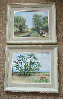 Pair Of Vintage Oil Paintings In Picture Frames, Suffolk Scenes Jill Squires