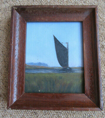 Vintage Naive Oil Painting Of A Norfolk Wherry Boat 1944, Naive Picture Frame