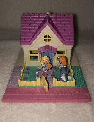 Polly Pocket Vintage Bluebird Cozy Cottage Pollyville Dolls Complete Playset