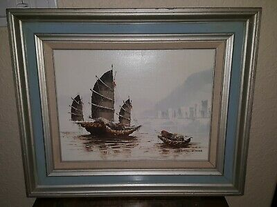 "Vintage Framed Signed P. Wong Oil Painting Chinese Junk Boats Ships 22""x19"" EUC"