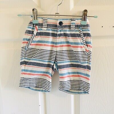 Blue White Red Striped M&S Shorts Age 18/24 Months (2425)