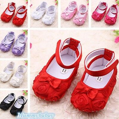 Toddler Kids Baby Girl Floral Anti-Slip Infant Sneaker Crib Shoes Dress Bowknot