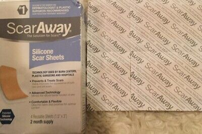 """4 ScarAway Professional Grade Silicone Scar Sheets ~ 1.5"""" x 3"""" ~ Expiration 2023"""