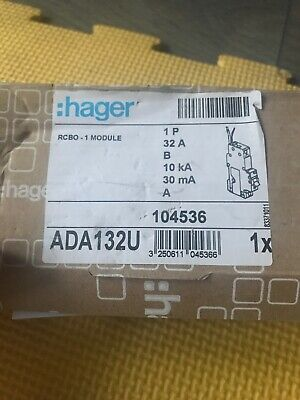 Hager RCBO 32Amp 30mA Type B 32A 104536 Range BRAND NEW