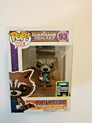 Funko Pop! MARVEL GUARDIANS OF THE GALAXY #93 ROCKET & POTTED GROOT 2015 CON EXC