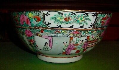 Large Antique 19th Cent. Chinese Rose Medallion Export Bowl 12 Inches NO RESERVE