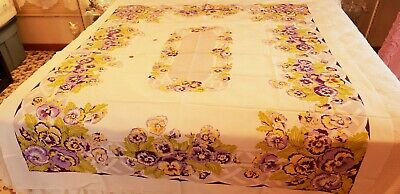 """Estate Midcentury California Hand Print W/Tag Pansy Tablecloth 52"""" X 64"""""""