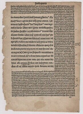 Incunabula Page from the Book Consolationes Philosophie Boethius Nuremberg 1476