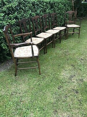 Set Of 6 Antique Early 20th Century Dinning Chairs-Vintage-carver-matching
