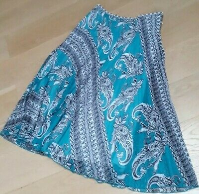 Ladies Per Una Marks & Spencer Long pleated skirt size 14 Turquoise Paisley