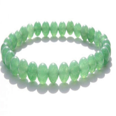 6mm Green Jade Stone Bracelet 7.5inches Sutra Stretchy Meditation Bless mala