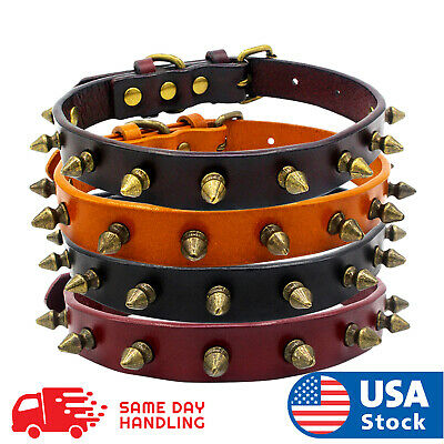 Spiked Studded Rivet Leather Dog Collar Pet Collar XS/S/M/L