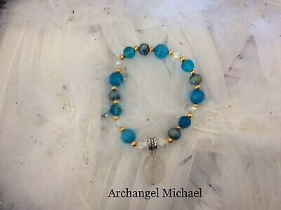 Code 553 Archangel Michael Cat's Eye, Titanium n Crystal Infused bracelet