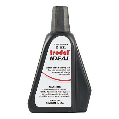 Trodat / Ideal Rubber Stamp Refill Ink (for stamps & stamp pads) 2 oz!!! BLACK