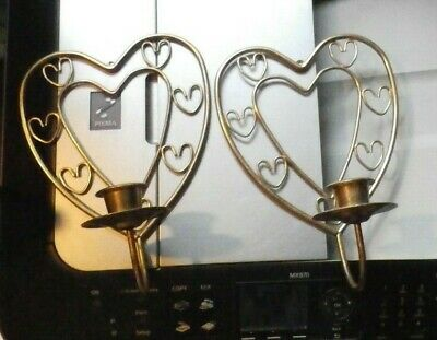Pair Gold Tone Brass Metal Heart Shape Wall Sconce Candle Holder Set of 2
