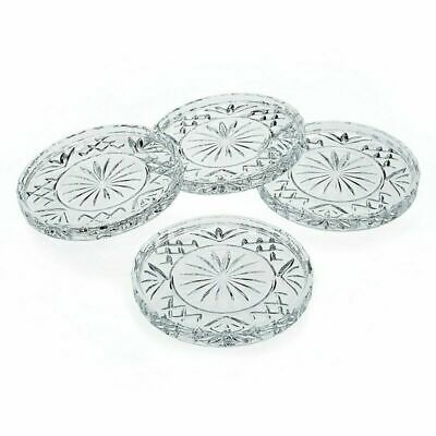 New Godinger Crystal Dublin Glass Coasters Set Of 4 Coaster Drink Cup Wine