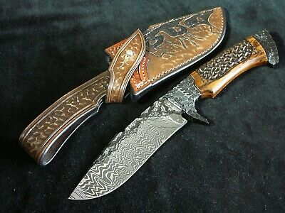 Damascus small Bowie knife with harpoon blade by CSABA VOJKO. Amazing Beauty!