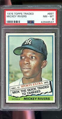 1976 Topps #85T Traded Mickey Rivers New York Yankees PSA 8 Graded Baseball Card