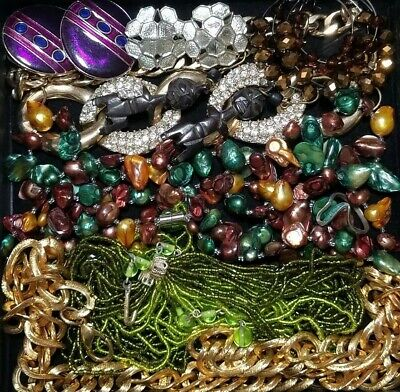 Vintage Now Unsearched Untested Junk Drawer Jewelry Lot Estate Find All Wearable