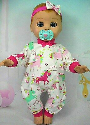 Dolls clothes for LUVABELLA DOLL~COLOURFUL UNICORN JUMPSUIT & HAIR BOW