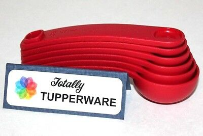 Tupperware Measuring Spoons Set of 6 Red Scoops Nesting Click-Together Cups