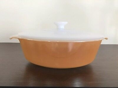Vintage Fire King Peach Lustre / Copper Tint Covered Casserole Dish White Lid