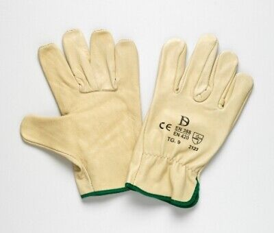 New Steeldrill Leather Gloves 470 Beige Riggers Glove - Pack (12 Pairs) Size 9